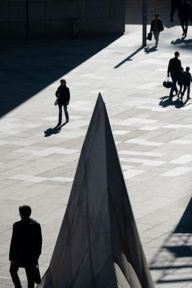 Passing as Shadows.  Parvis de la Defense, Paris.