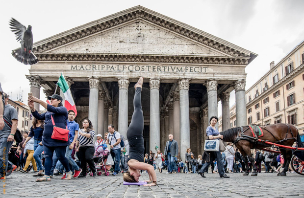 Pigeon, horse and yoga at the Patheon