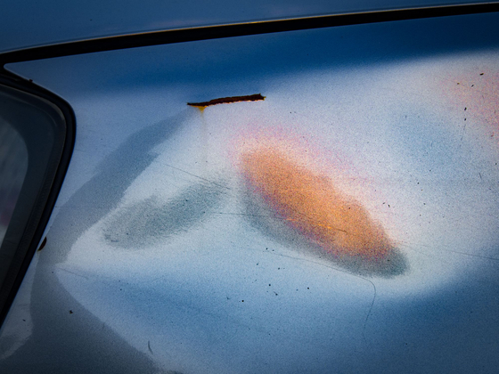 Orange-pink Cloud on Blue Car, Hastings-on-Hudson, NY