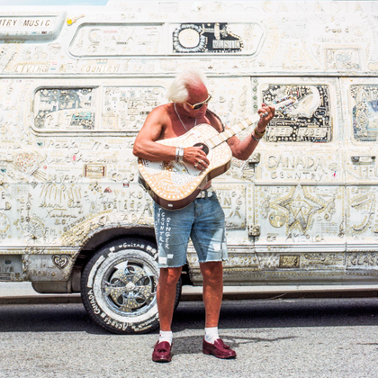 Country singer with his van