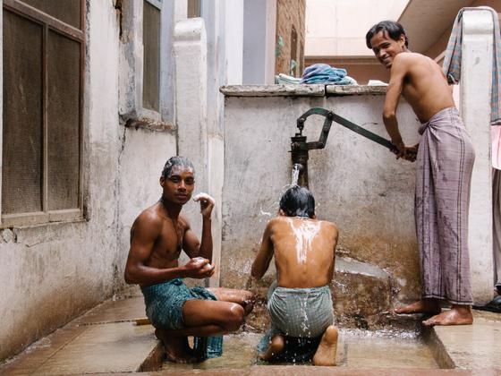 Indian boys bathing. India