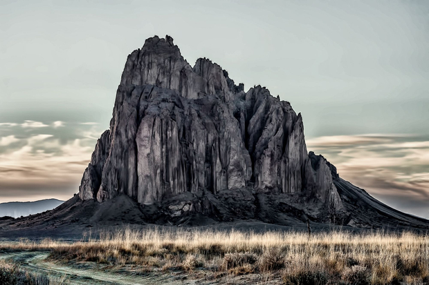 Shiprock Framed by Its Grass