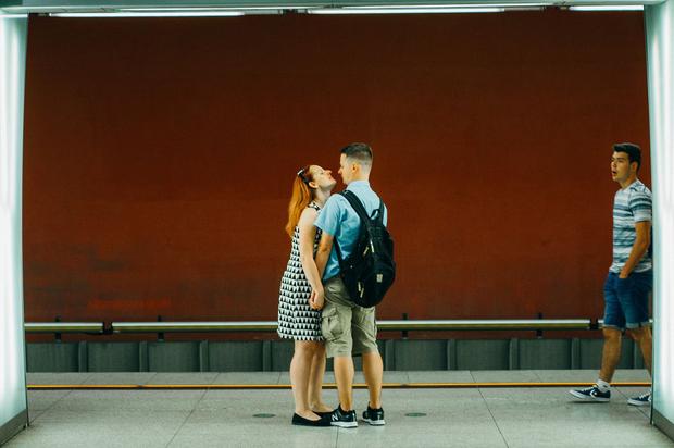 Red subway kiss