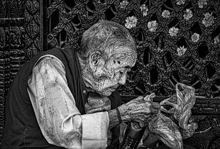 Old Man at Stupa