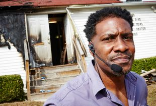 Pastor outside his church after arson