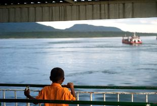 Local boy on the ferry boat at Gilimanuk seaport.