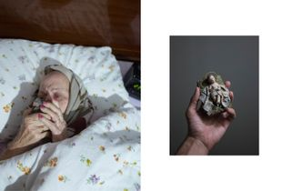 "Diptych:  Manolita kissing ""jesusito"" Nativity figurine /  ""Jesusito"" Figurine."