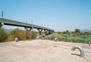 A walker. Viaduct near Sant Boi, Barcelona.