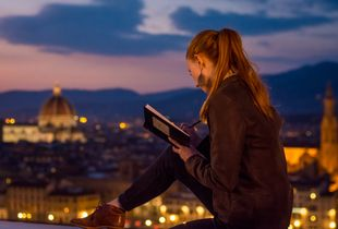 Girl Drawing Florence from Piazzale Michelangelo
