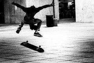 skateboarder at night