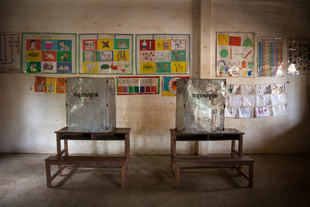 Voting booths in a public school ahead of national elections in rural Cambodia.