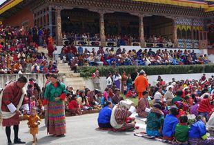 Bhutanese Attending Tsechu Festival