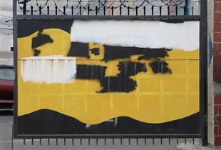 01. Painted-out Graffiti / Black and White on Yellow and Black
