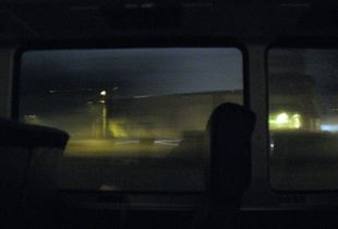 View from a bus, vaguely in the style of Edward Hopper