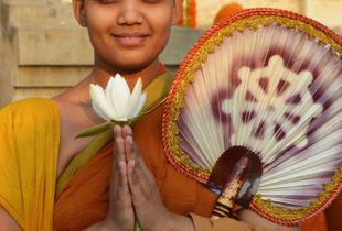 Buddhist nun in Bodhgaya, India