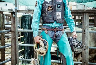 """Eight Seconds / William Junior Dougan is a Belgium Bull rider. I took this portrait during the French Festival of Rodeo """"Equiblues"""" ,Ardeche , France , August 2017."""