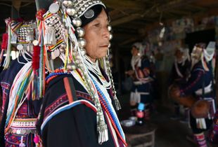 A traditional Akha wedding ceremony in a remote rural village in the eastern Shan State, Myanmar.