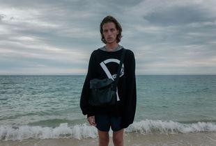 Oscar on beach, Nelson, NZ