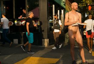 Naked Man Eating Pizza