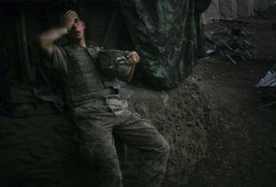 World Press Photo of the Year 2007 © Tim Hetherington, UK, for Vanity Fair. American soldier resting at bunker, Korengal Valley, Afghanistan, 16 September.