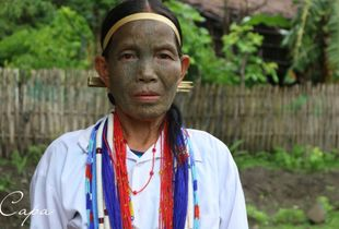 Old Woman with tatto face