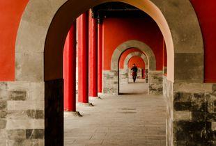 Looking Through the Corridor. Forbidden City, Beijing, China.