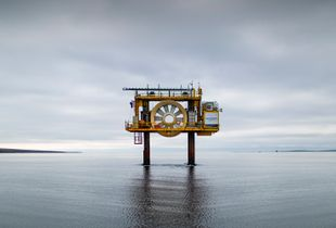 Fall of Warness tidal test site, Eday, Orkney. OpenHydro Open Centre Turbine.