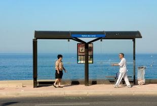 Couple at Bus Stop on the Corniche Marseille France