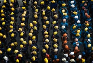 Daily routine gathering of construction workers