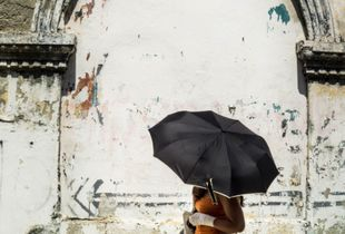 Black Umbrella, Hot Sun, Cartagena, Columbia