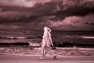 Blonde Ladies Walking before the Storm