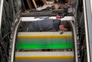 Man in an escalator