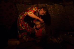 Nenet woman doing daughter's hairs
