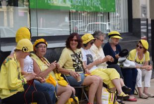 a Group of Nannas outside local politician's office every Thursday afternoon in Lismore NSW Australia 2016