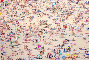 Sunbathing in San Sebastian beach