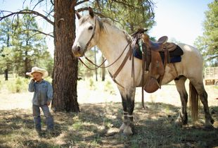 "Ranch Raised Kid, Cade Rodgers, age 4, ""I could rope all of them if only everybody would only stop watching""."