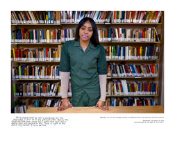 SAHIAH, 23, in the college library at Bedford Hills Correctional Facility (2019).