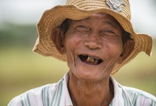 Happy farmer in Bagan