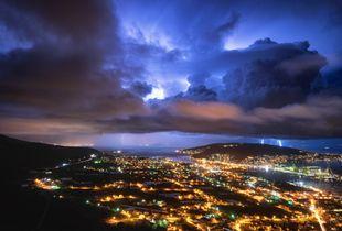 Storm passing over Dalmatia - city Trogir (Croatia)