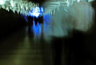 People walking underground