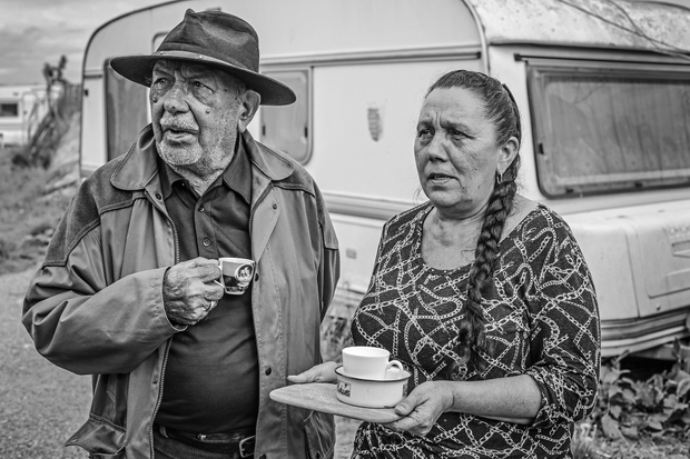 Fatis, eighty-six, and his daughter, Touroute. An elder of the community, Fatis could not resign himself to living in a conventional house. He passed away a couple of months after the destruction of the settlement.
