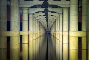 Underbelly of Bridge Tunnels into Dusk