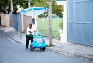Man selling ice-cream in Haiti
