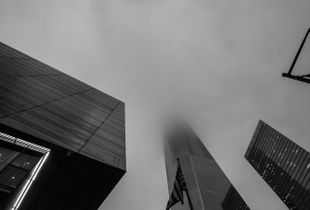 One World Trade Center on a rainy day