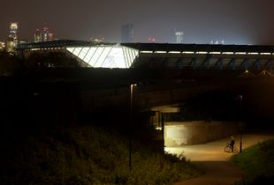 Millwall Football Club at night, London.