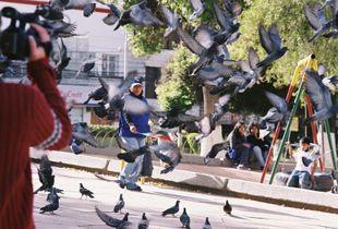Tempus en fugit - Plaza Abaroa, La Paz, Bolivia; 35mm film