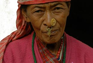 Woman in the foothills of the Himalaya