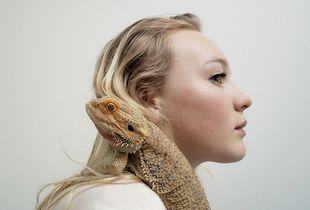 Girl and Komodo Dragon