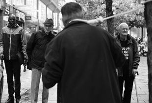 Street preacher in a noose