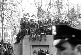 Antiwar demonstrators in Bryant Park
